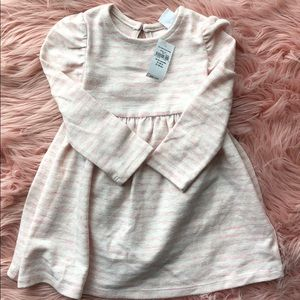 Baby girls pink and cream striped dress